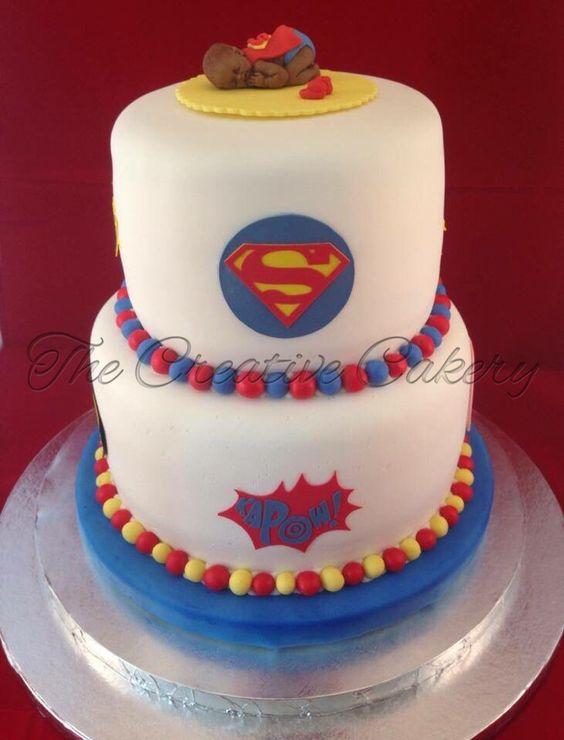 superhero baby shower cake complete with baby superman sleeping