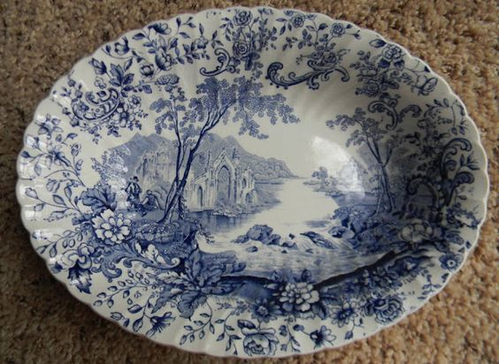 Beautiful Blue Transferware Oval Vegetable Bowl, with a serene scene of a waterfall & the ruins of an English Abbey!
