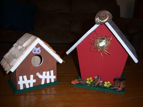 Western-themed birdhouses for a customer!