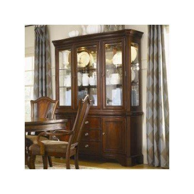 American Traditions Buffet with Hutch in Distressed Rich Cordovan Mahogany by Legacy Classic Furniture. $2182.40. 9350-270 / 9350-272 Features: -Two doors with adjustable shelf.-Three English dovetail drawer at front and backs with one silver tray.-Side guided ball bearing drawer guide system.-Maple inlay.-Hutch has three glass doors with etching.-Three lights-hinge switch.-Adjustable glass shelves with display plate groove.-Glass curio sides and mirrored back. Construction: -...