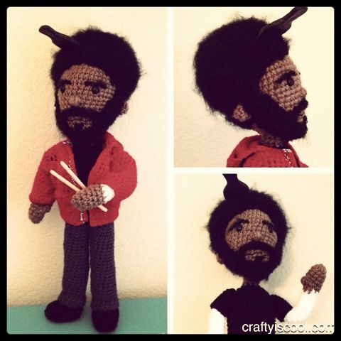Questlove amigurumi, via Flickr.