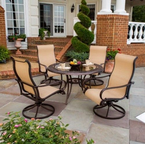 Backyard 5 Piece Patio Dining Set Tan Glass Table Ergonomic Chairs Outdoor BBQ