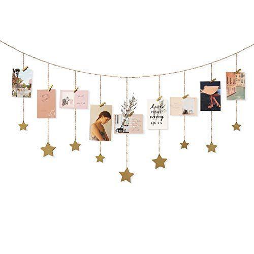 Mkono Hanging Photo Display Wood Stars Garland With Chain Https Www Amazon Com Dp B07mnc9gk Holiday Card Display Hanging Photos Diy Wall Decor For Bedroom
