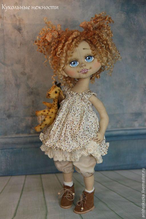 Купить Софи . Игра в сафари .Кукла авторская текстильная Кукла ручной работы - бежевый, белый: