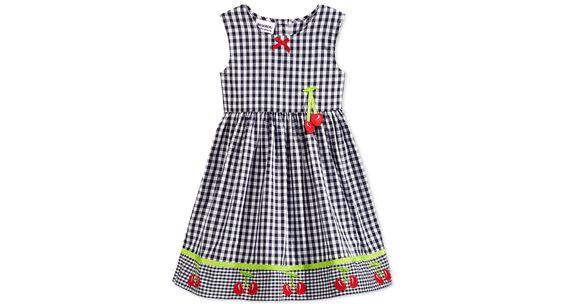 Blueberri Boulevard Little Girls' Cherry Gingham Dress