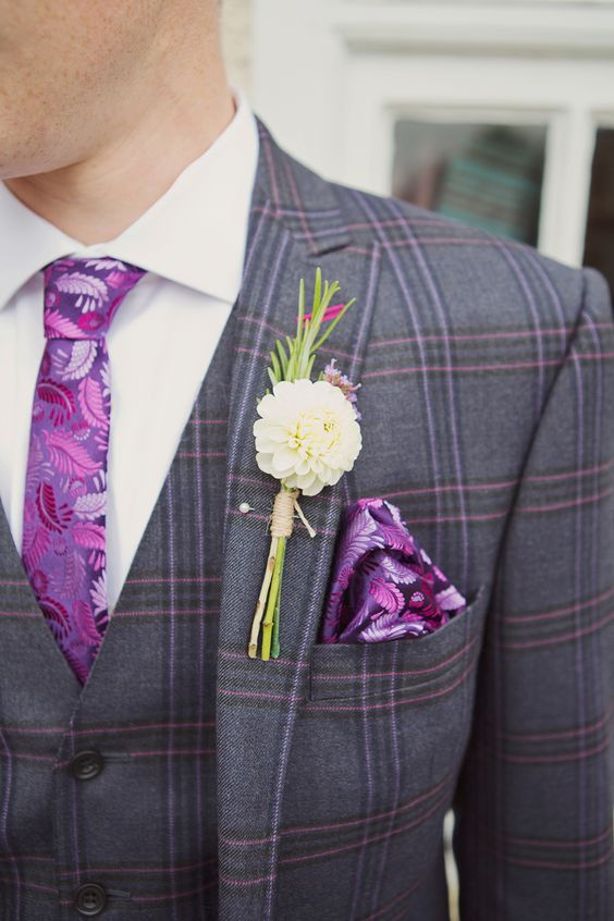 great look for the bold groom for a purple wedding! ~  we ❤ this! moncheribridals.com