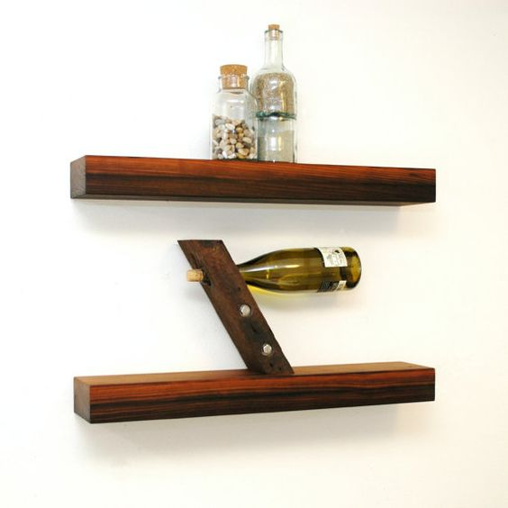 Floating reclaimed redwood shelves by ChristopherOriginal on Etsy
