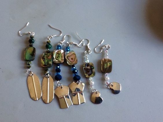 Earrings I did the next ones will have carving on the silver.
