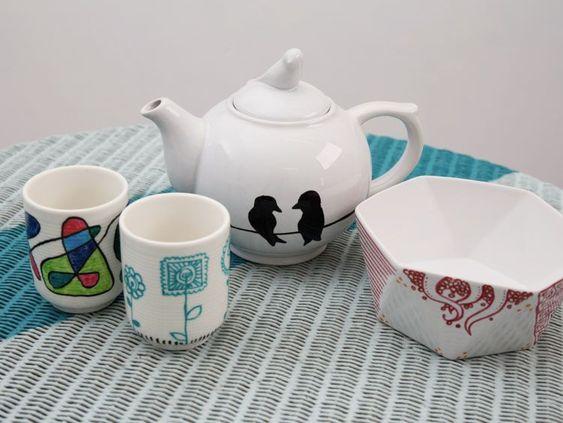 Tutoriel DIY: Dessiner des motifs sur de la porcelaine via DaWanda.com