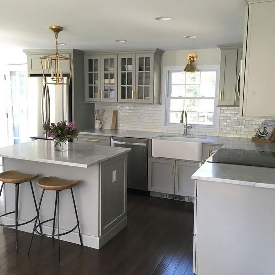 White Cabinets Gray Subway Tile Kashmir White Granite: Gray Kitchens, Shaker Cabinets And Marble Countertops On Pinterest