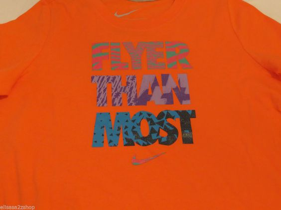 Nike active cotton t shirt youth girls 589148 816 XL xlrg Flyer Than Most NWT^^ #Nike