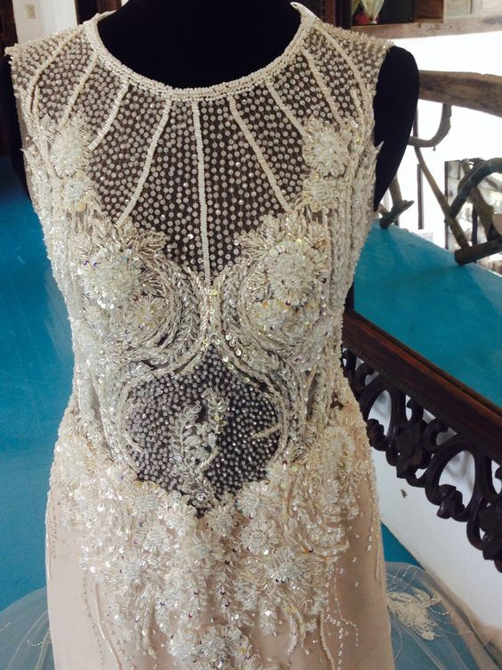 sheer bodice wedding gown