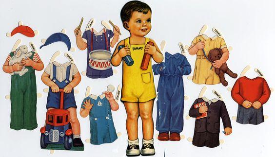 Tommy Dunkelhaariger Puppenjunge Anziehpuppe Ausgestanzt Reprint 1920 PAPERDOLL   eBay