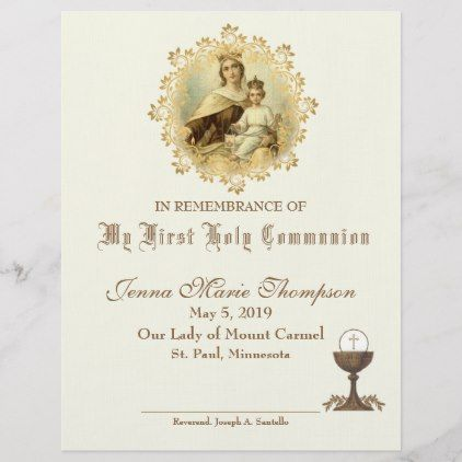 Catholic Holy Communion Remembrance Certificate Zazzle.com (With