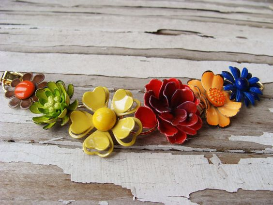 Colorful All Flowers Vintage Bracelet by carolinabean on Etsy, $85.00