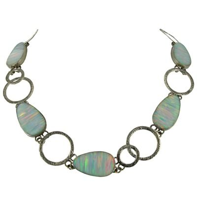 Created Opal Oval Open Link Necklace