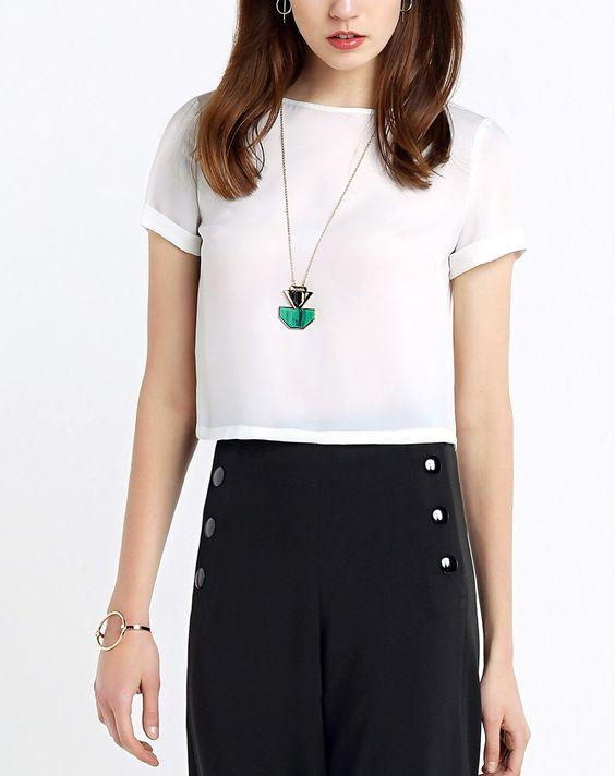 #AdoreWe #VIPme Blouses & Shirts - Moonbasa White Minimalism Short Sleeve Short Blouse - AdoreWe.com