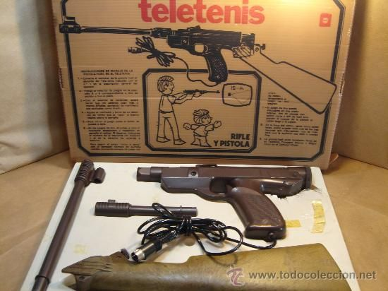 ANTIGUO ACCESORIO VIDEO CONSOLA - RIFLE PISTOLA TELETENIS ¡¡ FUNCIONANDO ¡¡ MADE IN SPAIN 70S - PONG