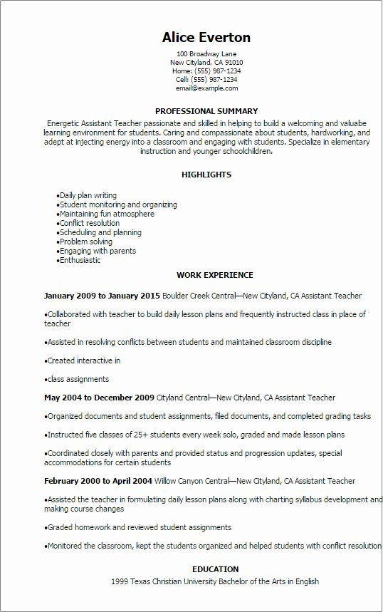 Special Education Teacher Resume Examples Inspirational Professional Assistant Teacher Resume Template Teacher Resume Examples Teacher Assistant Teacher Resume
