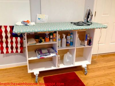 ironing station tutorial- oh man!  Look at all the room being used under that ironing board!  I'm in!  Doing that to my bokcase ASAP!!!!!!!