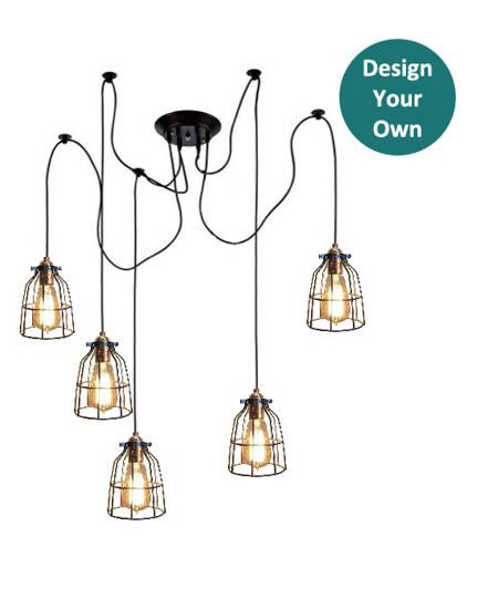 Custom made 5 cage pendant light swag spider chandelier choose any hardware length color and bulb to create your own style only at hangout lighting