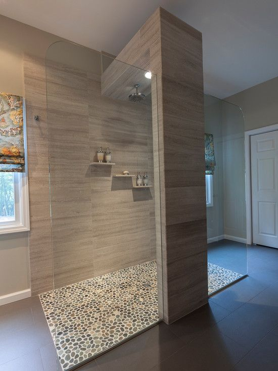 Bathroom Design, Cool Open Shower With Pebble Floor Design ...