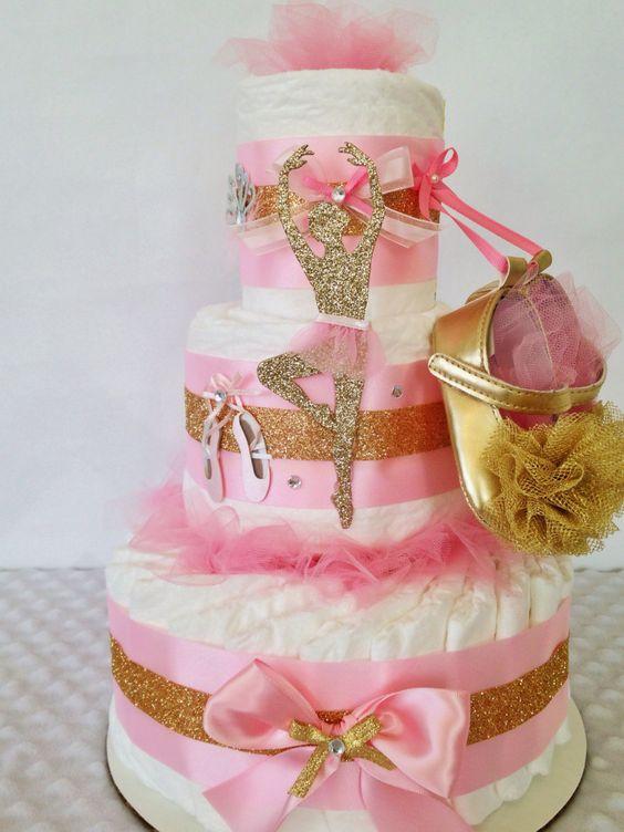 Designer ballerina diaper cake in pink and gold