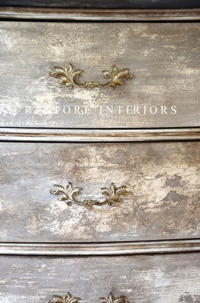 Love the crackle finish on this french dresser