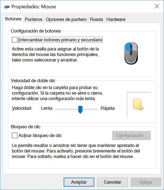 Configurar mouse en Windows 10