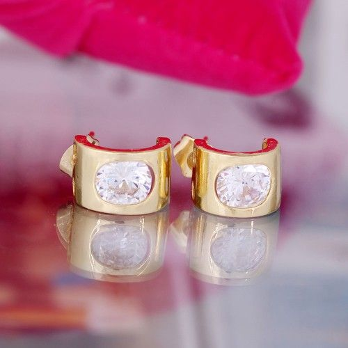18K Gold Plated Cubic Zirconia Stone Stud Earrings Fashion Jewelry