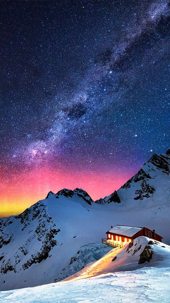 Snow Mountain Chalet Aurora Milky Way Stars Iphone 6 Wallpaper Beautiful Nature Night Skies Milky Way
