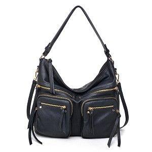 New Urban Expressions Landen Handbag Vegan Leather Tote Bag Black on SALE $69.99 at BagMadness.com #UElanden #BagMadness #http://www.pinterest.com/BagMadness1/