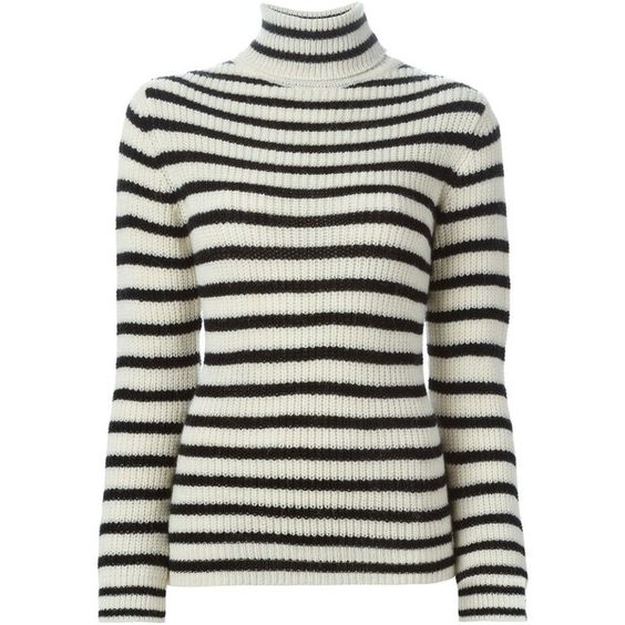 Iro Striped Turtleneck Sweater ($187) ❤ liked on Polyvore featuring tops, sweaters, black white stripe top, striped turtleneck sweater, striped sweater,