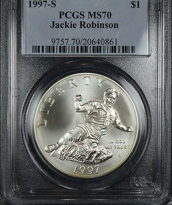 LOW POP 1997-S Jackie Robinson PCGS MS70 Silver Dollar - Modern Commemorative  Finger Lakes Numismatics