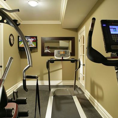 Gym home gyms and exercise rooms on pinterest for Small room gym setup