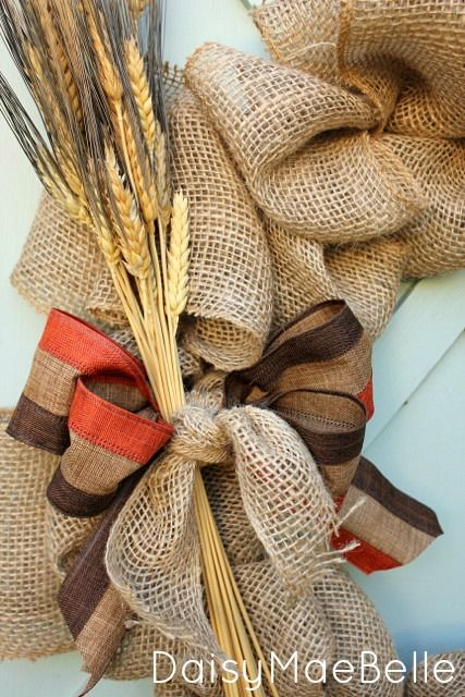 How to make a burlap wreath with step by step bow making for Burlap ribbon craft ideas