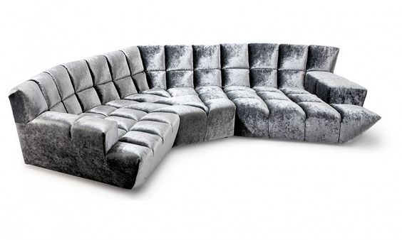 CLOUD 7 Sectional Lounge By Bretz [ Flagship Bretz Furniture Store In  Sydney, Australia ]. Rounded Corner Lounge. Grey Silver Velvet.
