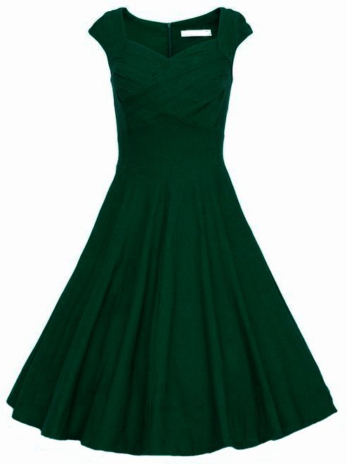 Online shopping for Dark Green Raw Waterfall Underskirt Heart Shape Collar Sleeveless Flare Dress from a great selection of women's fashion clothing & more at MakeMeChic.COM.