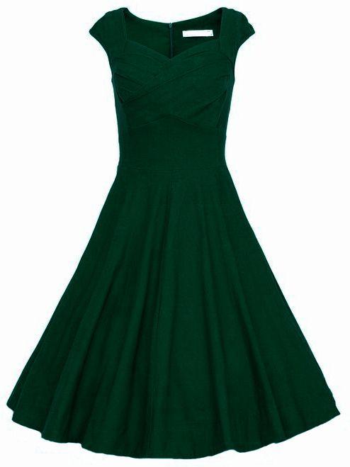 Vestido+sin+manga+con+vuelo+-verde+oscuro++20.30