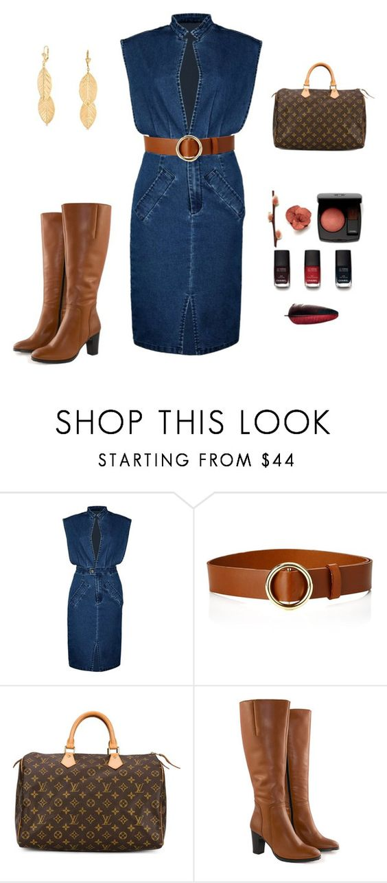 """Jean Dress"" by weir-allie ❤ liked on Polyvore featuring Boohoo, Chanel, Frame Denim, Louis Vuitton, Jilsen Quality Boots and Bling Jewelry"