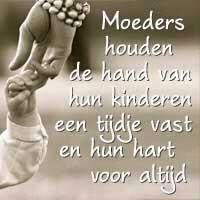 a mother holds the hand of her kids for a while an their heart for ever