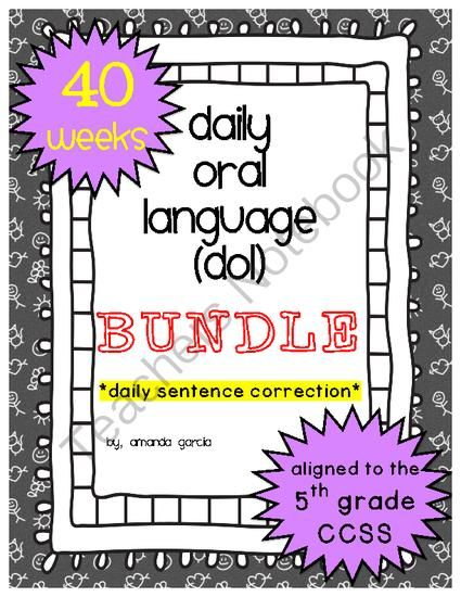 Worksheet Daily Oral Language 5th Grade Worksheets language student and the ojays on pinterest daily oral dol bundle aligned to 5th grade ccss from sweet and