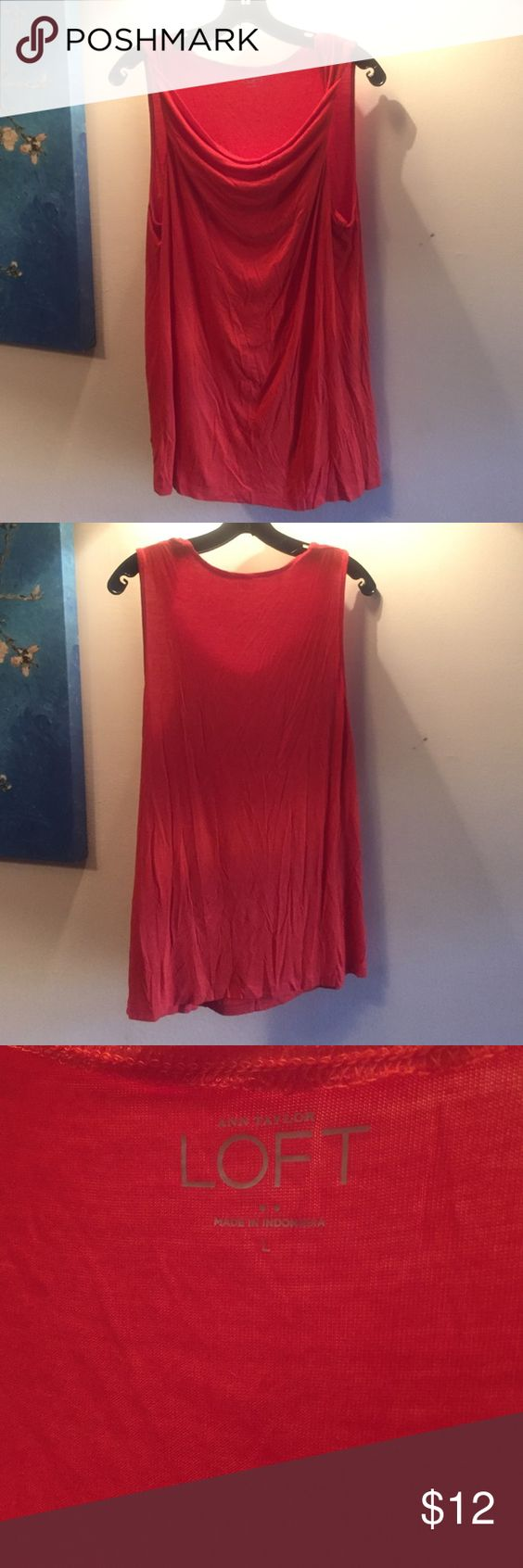 Orange Anne Taylor Loft Tank Never worn Anne Taylor Loft tank! BNWOT scoop/cowl neck tank in a very true orange color. 95% Rayon, 5% spandex would be great under a cardigan and/or belted!! Ann Taylor Tops Tank Tops
