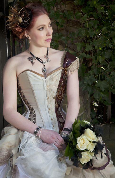 Steampunk wedding dress sneak peak from shoot. Photographer: Andreea Veronica Virna Model: Raeven Irata MUA: Tori Harris Make Up Bouquet: Cherubs floral design, Reading