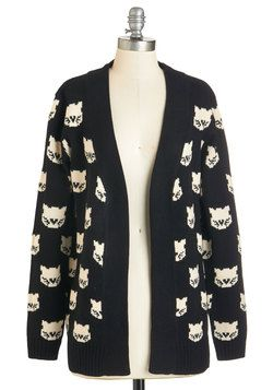 Mew Know It's True Cardigan. When pals call this cat-printed cardigan from Sugarhill Boutique the purr-tiest theyve ever seen, you cant help but agree! #black #modcloth: