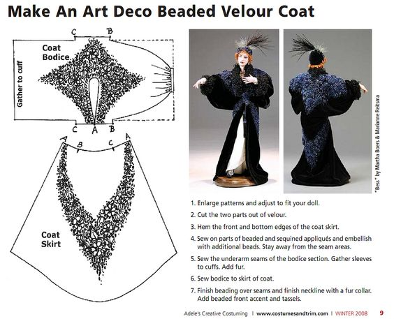 "https://flic.kr/p/drcMkh | beaded velour coat tutorial by Adele Sciortino | credit goes to the creator and original publisher, Adele Sciortino (<a href=""http://costumesandtrim.com/"" rel=""nofollow"">costumesandtrim.com/</a>). no copyright infringement intended, will remove if asked, of course. (I don't think the tutorials are accessible anywhere else any longer, thus I am uploading them for posterity) :D"