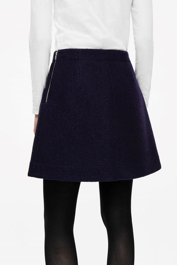 A-line wool skirt - Midnight Blue - Skirts - COS US