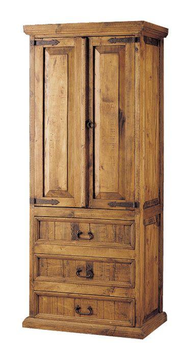 Armario ropero de 3 cajones y 2 puertas de estilo rustico for Muebles con cajones de madera