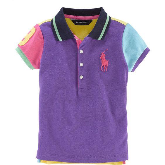 Ralph Lauren Childrenswear Girls 2-6x Cotton Short-Sleeve Color-Block... ($27) ❤ liked on Polyvore