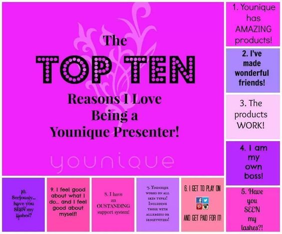 TOP 10 Reasons I love being a Younique Presenter https://www.youniqueproducts.com/Shannasgotlashes/business/presenterinfo